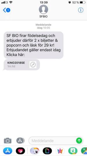 Det falska sms:et. Bild: Läsarbild.