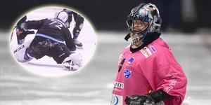 Kimmo Kyllönen , i rosa tröja, och Pertti Virtanen (infällda bilden) – två långkastande målvakter som möjligen kan dra nytta av regeltestet i Svenska cupen. Bild: Mikael Fritzon (TT)/Peter Axman