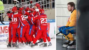 Till vänster: ryskt jubel. Till höger: Stefan Edberg. Bilder: Rikard Bäckman/Bandypuls.se/TT.