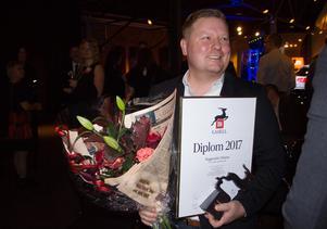 Jan Lindblom tog emot priset som årets supergasell för företaget Byggprojekt i Dalarna, som han grundat. Bilden är från en gala i Falun, när företagets utsågs till årets gasell i Dalarna för två månader sedan.