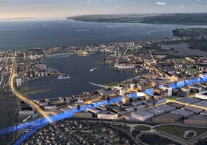 Planillustration över Södra Munksjön.