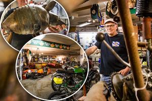 Flera dagar i veckar kan en hitta Thomas Larsson nere i Isgaraget i Hedemora där han både meckar man motorcyklar, ventilerar dagen med de andra - eller skapar konst av de mest märkliga sakerna.