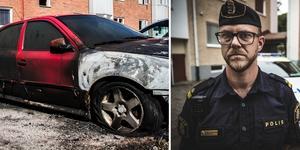 Hittills i år har det brunnit fler bilar i Krylbo än under hela förra året, berättar kommunpolisen Thomas Nordström. Foto: Mimmi Sundberg/Anton Ryvang