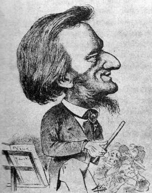 Geniet som karikatyr. Richard Wagner porträtterad av Karl Klic i humortidningen Humoristische Blaetter 1873.