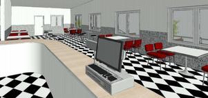 En av två skisser på det planerade samlingsrummet. Foto: Beautytown cruisers