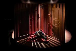 Gregor Samsa (Cecilia Wernesten) vaknar en morgon ur sina oroliga drömmar och finner sig förvandlad… Foto: Jenny Baumgartner