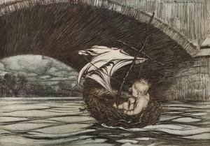 Peter Pan seglar i ett fågelbo. Illustration av Arthur Rackham från 1906.