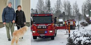 Stefan och Marianne Falk blev hemlösa efter branden och har tagit in på ett hotell i Gävle. Här med hunden Felix. Bild: Roger Wallenius/Christoffer Urborn
