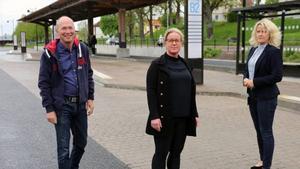 Håkan Persson ordförande i Mega+, Anna Engesvik projektledare i Mega+ och Malin Tell projektledare från Skara kommun. Vid stationsområdet, en av platserna i Skara där man känner sig otrygg. Foto: Skara kommun