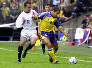 Klebér Saarenpää i en VM-kvalmatch mot Slovakien 2001.