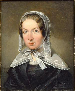 Fredrika Bremer. Målning av Johans Gustaf Sandberg från 1843.
