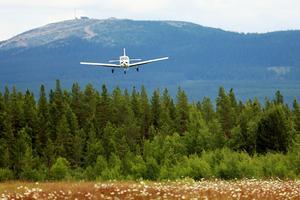 Piperplanet är på väg ner för landning med en ung pilot bakom spakarna