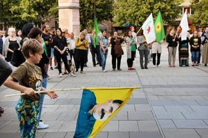 Chino, 9, håller flaggan framför de många demonstranterna som lyssnade på talarna.