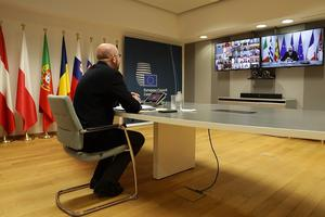 Ända sedan coronakrisen bröt ut har EU:s permanente rådsordförande Charles Michel tvingats hålla sina toppmöten via webben. Arkivbild.