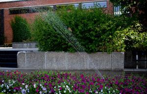 Två vattenspridare gör av med ca 3600 liter vatten på fyra timmar.  Det motsvarar ungefär 360 personers dagliga förbrukning av vatten för dryck och matlagning.