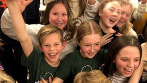 Klass 5A från Sidsjöskolan vann tisdagens kvartsfinal. Foto: Niklas Axelsson/Sveriges Radio