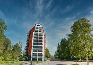 En skiss av hur den arkitektfirma som anlitats av Bollnäs bostäder tänker sig det nya huset på den så kallade Gulftomten.