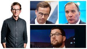Stefan Löfven (S), Ulf Kristersson (M) och Jimmie Åkesson (SD). Tre inte särskilt vise män. Gabriel Ehrling Perers, politisk redaktör på oberoende liberala Dalarnas Tidningar predikar. Foto: TT/DT