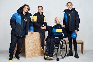 Guld, gult och olika nyanser av blått återfinns på de svenska OS-kläderna från H&M. Bild: H&M