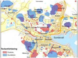 Karta över skolskogar för naturlek och utevistelse norr om Sundsvalls centrum. Den är en del i det planeringsunderlag som legat till grund för framtagandet den Natur- och friluftsplan som antogs av kommunfullmäktige 29 januari i år.