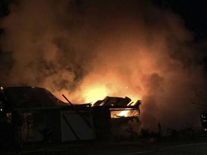 Från branden i Nilsvallen, natten mot måndagen.