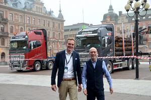 Henrik Holmberg på DB Schenker och Gunnar Tornmalm på Scania besökte Sundsvall för att berätta om framtidens trafik.