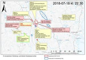 Länsstyrelsen publicerade på en uppdaterad karta över brandläget. Totalt ska brandområdet vara på omkring 8500 hektar.Foto: Länsstyrelsen Gävleborg