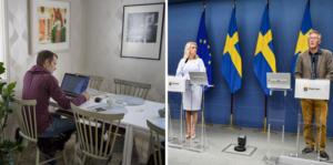 Socialminister Lena Hallengren (S) och statsepidemiolog Anders Tegnell håller pressträff på regeringskansliet. Foto (montage): Jessica Gow / TT och Naina Helén Jåma / TT