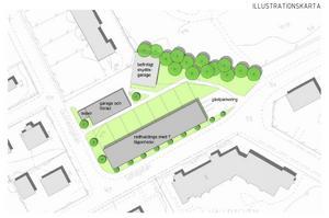 Sju radhus med små tillhörande trädgårdar, gästparkering och ett hus med soprum, garage och förråd ska byggas. BILD: Gävle kommun