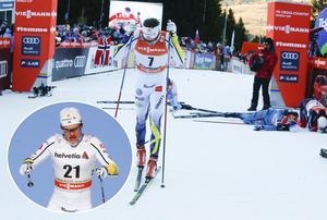 Axel Ekström (infälld) var bara sju sekunder långsammare än Tour de ski-giganten Sergej Ustiugov uppför den avslutande klättringen. Marcus Hellner (stora bilden) var dock en av de allra snabbast över huvud taget, 58 sekunder snabbare än Ekström uppför de avslutande 407 höjdmeterna, och klättrade till sjätte plats i toursammandraget.