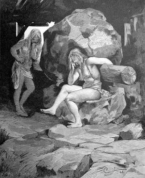 Två jättekvinnor vid en kvarn. Efter Carl Larssons målning från 1884.