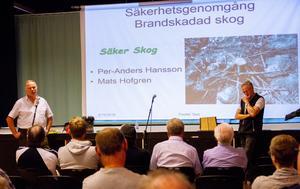 Mats Hofgren och Per-Anders Hansson, Säker skog, informerade markägare och jakträttsinnehavare. Sedan fick besökarna ställa frågor till Länsstyrelsen.