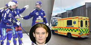 Frida Wiklund (infälld) lämnade Sparbanken Lidköping Arena i full mundering och på bår. Bild: Jonna Igeland / Team Fabbe & Sören (Villa Lidköping) / Christoffer Million