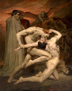 Dante och Vergilius i helvetet där människor i sin förtvivlade ensamhet och tomhet gör varandra illa. Målning av William-Adolphe Bouguereau från 1850.