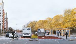 Örebro kommun och Region Örebro län har långt gångna planer på att satsar på så kallade superbussar i Örebro. Med speciella bussfiler och spårvagnsliknande bussar ska gå snabbare för passagerarna.Illustration: Anders Lind/Örebro kommun