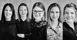 På bilden syns från vänster: Sara Söderström, ställföreträdande personalchef på Jordbruksverket, Cornelia Ekbladh, Director Product Management på Husqvarna, Emma Hult, riksdagsledamot för Miljöpartiet, Hanna Bevenby Broman, Warehouse manager på Ikea.