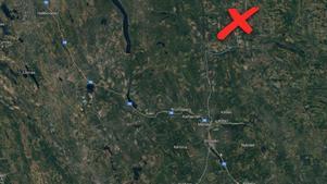 Kartan anger ungefärlig position för gripandet.