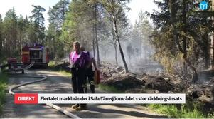 """Arbetet vid sommarens skogsbränder var tufft i värmen. """"Hur mycket jag än drack blev jag aldrig pinknödig"""", säger Åke Nilsson, här på plats vid Hyttskogen i Sala den 1 juni. Från SA:s livesändning."""