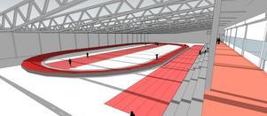 interiör. En fullstor inomhushall för friidrott är hett efterlängtad bland Gävles friidrottare. Byggs en på Sätraåsen ska det bland annat finnas en 200 meter lång rundbana, 60 meters löpbanor och bra förhållanden för såväl hopp- som kastgrenar.