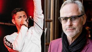 Eboniks, tidigare vinnare av Musik Direkt, som numera heter Imagine Sweden, och Uno Svenningsson. Bild: Marton Bohm/TT