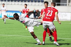 Mohammed Buya Yuray gjorde Dalkurds enda mål i hemmamatchen mot Kalmar. Bild: Mats Åstrand/TT