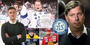 Thomas Johansson (höger) får lovord av Hockeypuls redaktör efter Leksands kvalseger. Foto: Johan Löf/Bildbyrån.