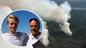 Egil Wicander och Peter Wicander har totalt 35 flygtimmar över norra Dalarna under förra veckan, för att spana efter skogsbränder och för att underlätta för brandmännen på marken att hitta till brandplatserna. Foto: Privat och Peter Wicander
