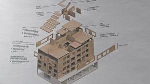Så byggs ett hus av limträskivor.