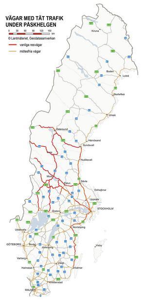Här är de vanligaste och mest trafikerade resvägarna i påsk.Källa: Trafikverket