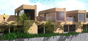Det här är en första visualisering av radhusen som ska byggas i trä.  Bild: Anders Ekström, Tyréns.