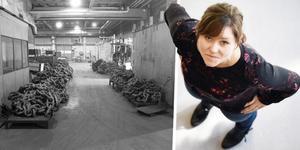 Den gamla kättingfabriken i Orsa har gått genom en stor förvandling. Till höger ser man Matilda Bastman, vd Marab. Foto: Orsa kommun bildarkiv och Stefan Rämgård
