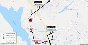Här är de tillfälligt indragna busshållplatserna – och de två hållplatser som resenärerna hänvisas till. Illustration: Fagersta kommun samt Google.