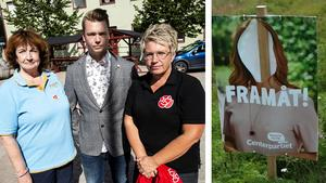 Det har skett en omfattande skadegörelse av valaffischer runt om i Sollefteå kommun och politikerna i kommunstyrelsen i Sollefteå, som här representeras av Kerstin Franzén (M), Johan Andersson (C) och Åsa Sjödén (S), är förstås mycket besvikna. Bilder: Robbin Norgren och Privat