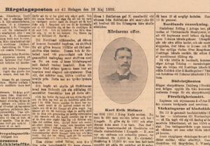 Bärgslagsposten den 26 maj 1900 skrev om mordet och publicerade en bild på ett av offren för Nordlunds massaker, Karl Henrik Holmer från Kungsör.